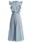 Self-Portrait - Ruffled Cut-Out Broderie-Anglaise Cotton Dress
