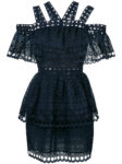 Dark blue multi cold shoulder strap mini dress from Self-Portrait.