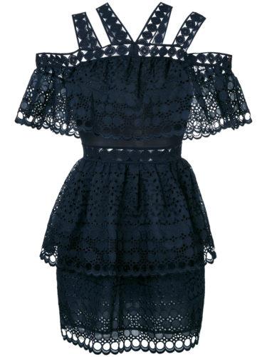 Dark blue multi cold shoulder strap mini dress from Self-Portrait.