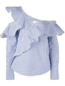Self-Portrait - Striped Frill Blouse