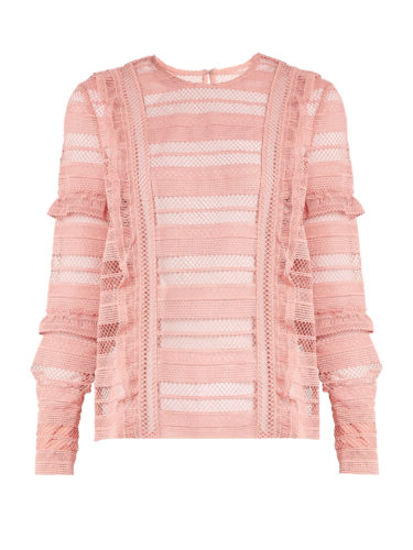 Self-Portrait - Striped Grid Guipure-Lace Top - Pink
