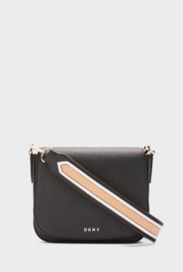 DKNY - Saffiano Contrast Strap Crossbody Bag - Black