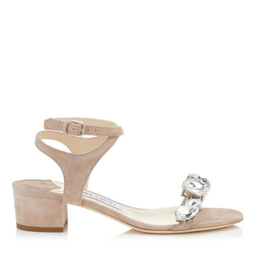 Jimmy Choo - MARINE 35 Suede Sandals with Crystals - Pink