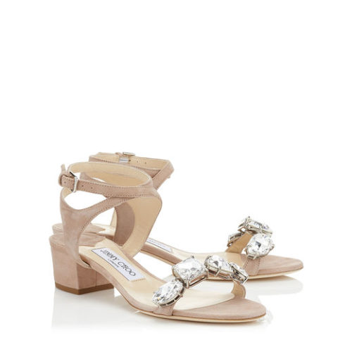 Jimmy Choo - MARINE 35 Suede Sandals with Crystals - Pink - buy