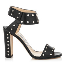 Jimmy Choo - VETO 100 - Leather Sandals with Silver Studs - Black