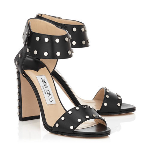 Jimmy Choo - VETO 100 - Leather Sandals with Silver Studs - Black - Buy Online