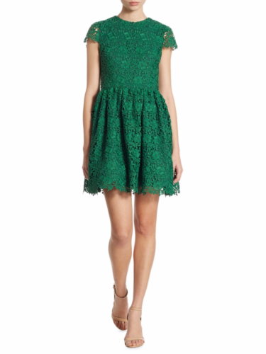 Alice + Olivia - Corina Lace Fit-&-Flare Dress - Green