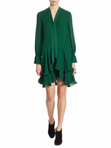 Alice + Olivia - Moore Tiered Silk Tunic Dress - Green