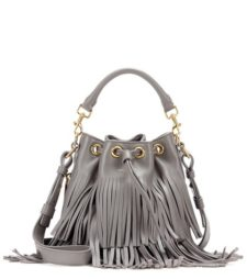 Saint Laurent - Small Bucket Fringed Leather Tote - Gray