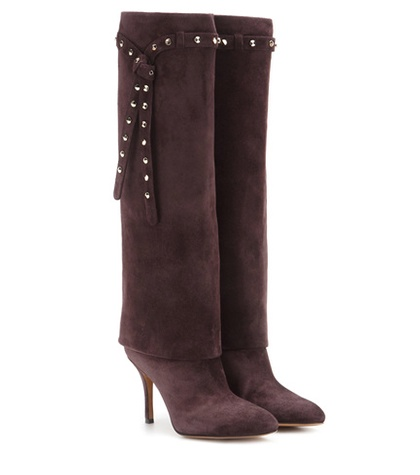Valentino - Embellished Suede Knee-High Boots