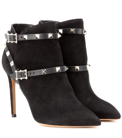 Valentino - Rockstud Suede Ankle Boots - Black