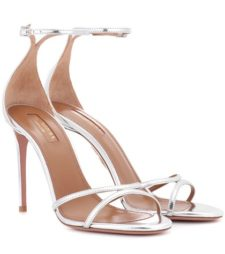 Aquazzura - Leather Sandals - SIlver