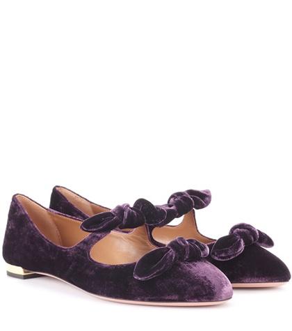 Aquazzura - Velvet Ballerinas - Purple