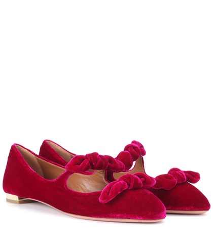 Aquazzura - Velvet Ballerinas - Red