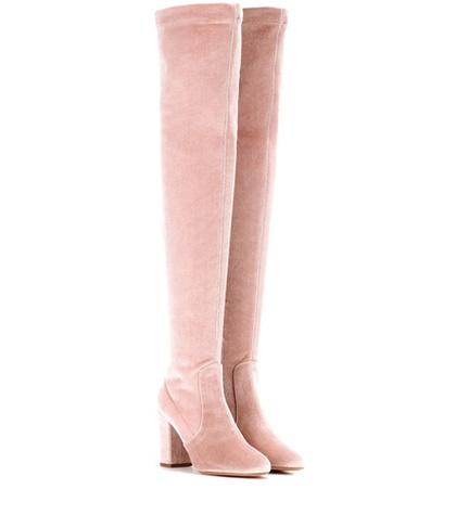 Aquazzura - Velvet Boots - Pink