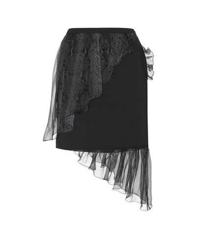 Christopher Kane - Crepe Skirt With Silk Ruffles