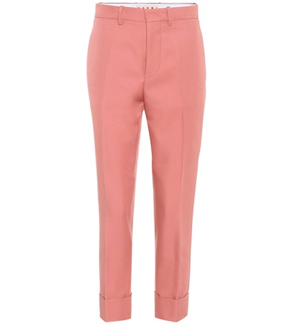 Marni - Cropped Satin Trousers - Pink