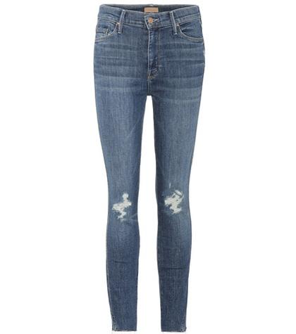 Mother - Vamp Fray Cropped Skinny Jeans - Blue