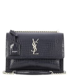 Saint Laurent - Medium Sunset Monogram Leather Shoulder Bag - Gray