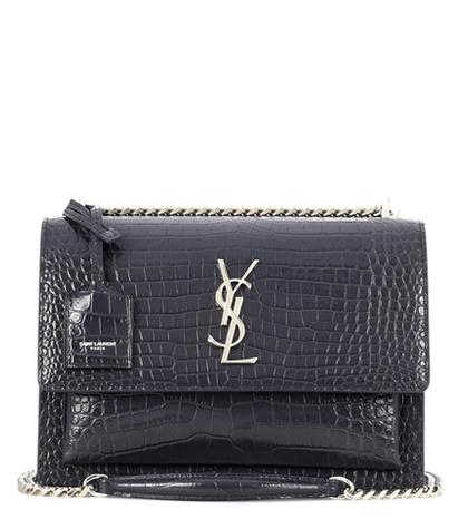Saint Laurent - Medium Sunset Monogram Leather Shoulder Bag - Gray