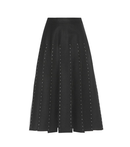 Valentino - Embellished Wool And Silk Skirt