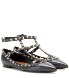 Valentino - Rockstud Leather Ballerinas