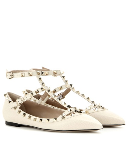 Valentino - Rockstud Leather Ballerinas