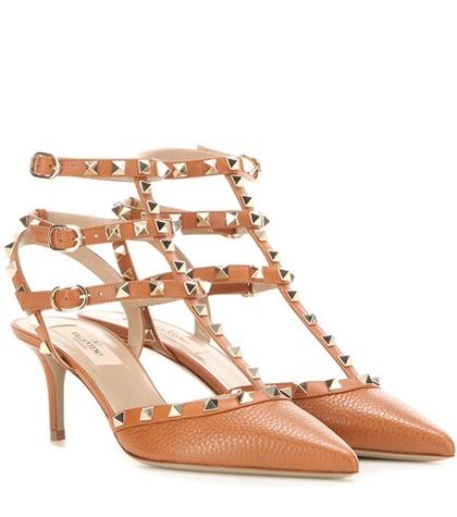 Valentino - Rockstud Leather Kitten-Heel Pumps