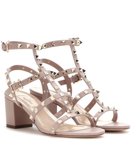 Valentino - Rockstud Leather Sandals - Brown