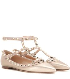 Valentino - Rockstud Metallic Leather Ballerinas