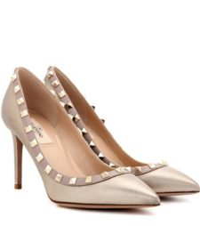 Valentino - Rockstud Metallic Leather Pumps