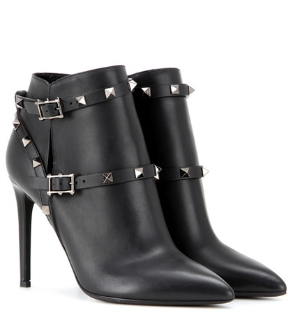 Valentino - Rockstud Noir Leather Ankle Boots