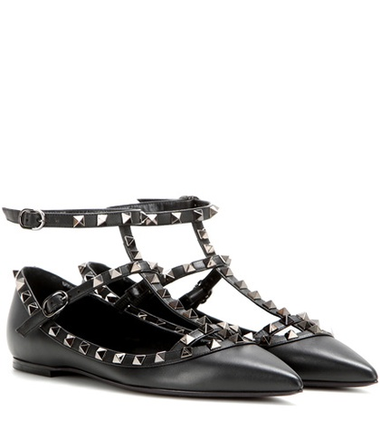 Valentino - Rockstud Noir Leather Ballerinas