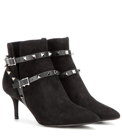 Valentino - Rockstud Noir Suede Ankle Boots