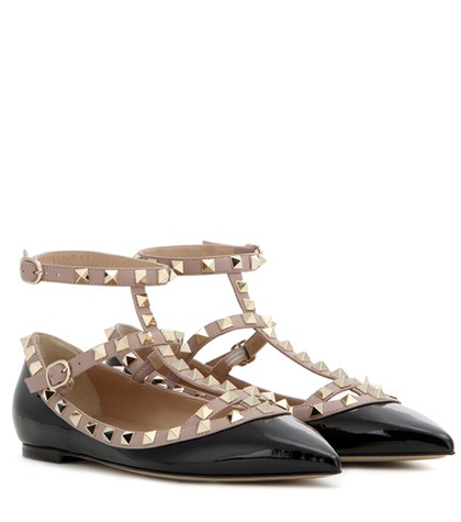 Valentino - Rockstud Patent Leather Ballerinas