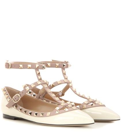 Valentino - Rockstud Patent Leather Ballerinas