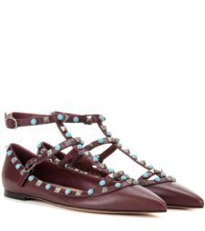 Valentino - Rockstud Rolling Leather Ballerinas