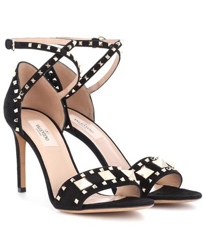 Valentino - Rockstud Suede Sandals - Black