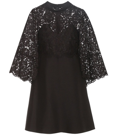 Valentino - Virgin Wool And Silk Cape Dress With Lace