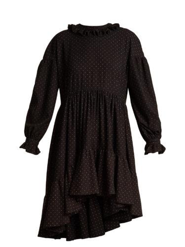 Blue Roses - Ione Dot-Print Asymmetric-Hem Dress
