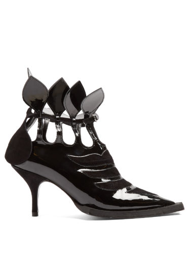 Blue Roses - Lydia Cut-Out Patent-Leather Ankle Boots