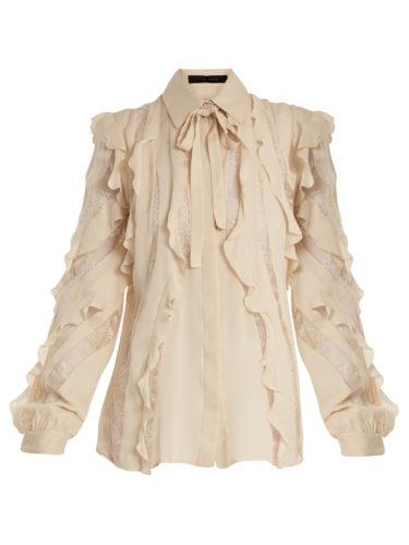 Elie Saab - Lace-Insert Ruffled Silk-Blend Shirt