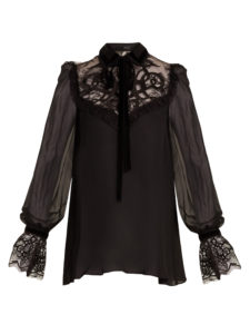 Elie Saab - Velvet-Embroidered Lace-Insert Georgette Blouse