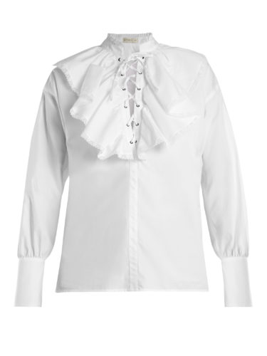 Etro - Anet Fluted-Bib Cotton Blouse