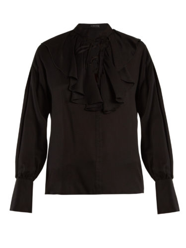 Etro - Fluted-Bib Jacquard Silk Blouse