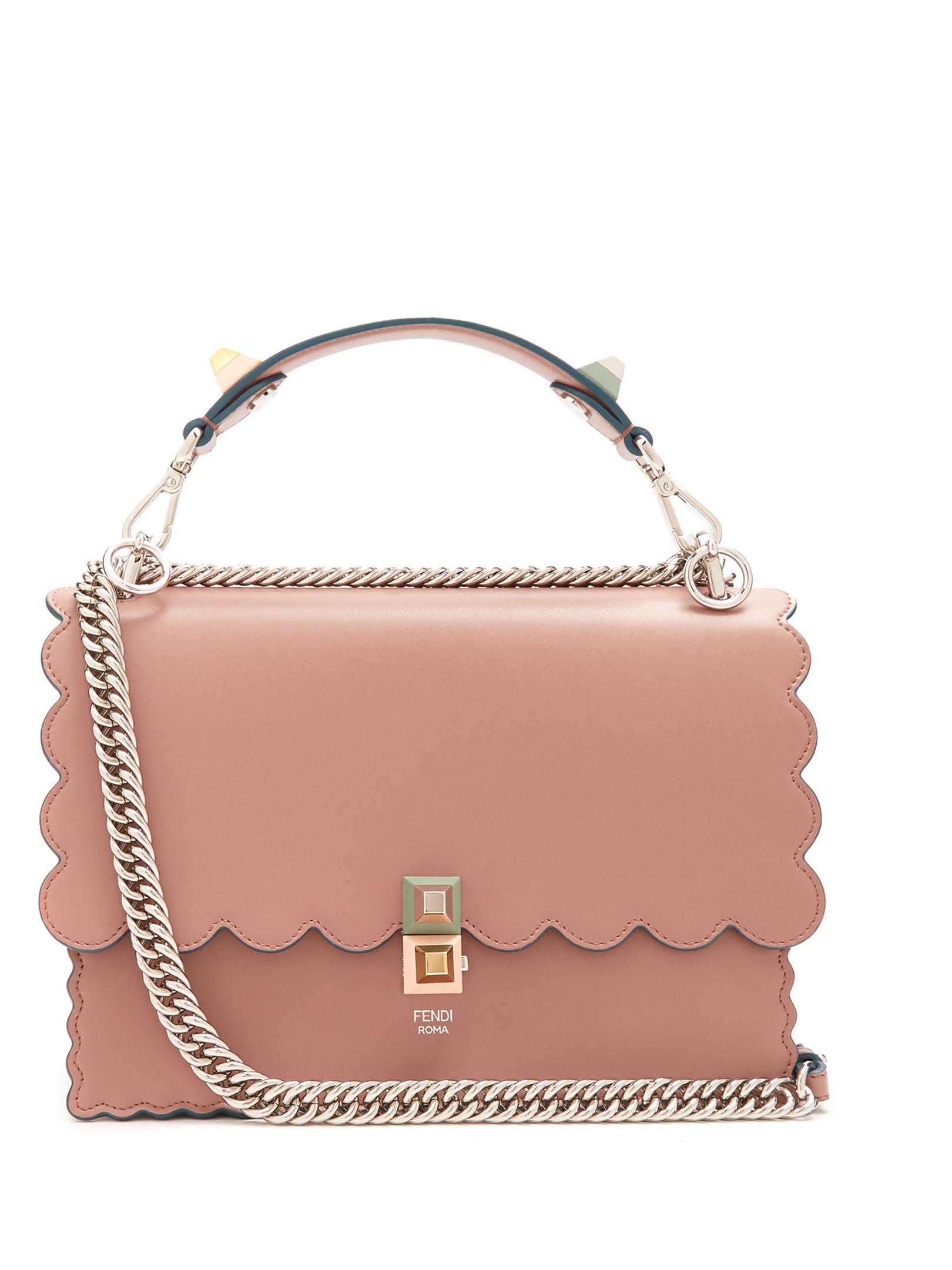 Fendi Kan I Leather Shoulder Bag Fashion Style Fan