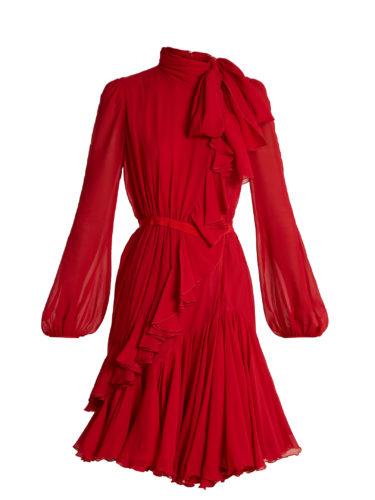 Giambattista Valli - Asymmetric Neck-Tie Silk-Georgette Dress
