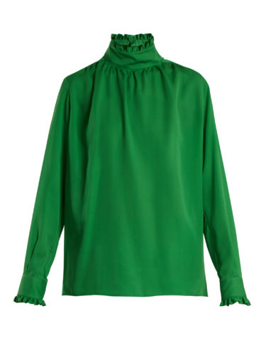 Gucci - Ruffle-Trimmed High-Neck Silk Blouse