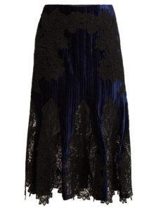 Jonathan Simkhai - Lace-Appliqué Crinkled Velvet Midi Skirt