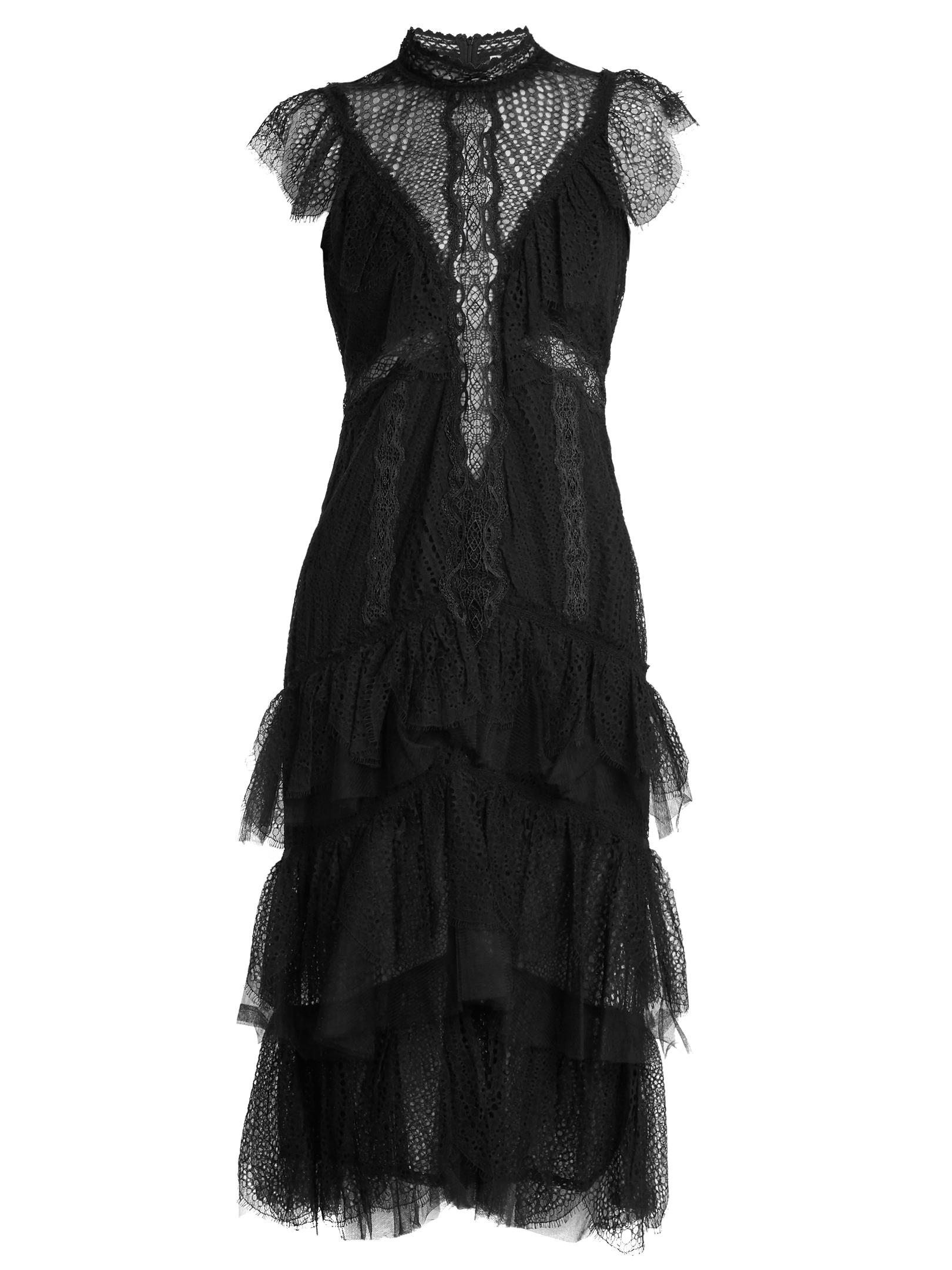 Jonathan Simkhai Tiered Ruffle Layered Lace Dress